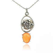 Orange Mallow Pendant by Vickie  Hallmark (Silver & Stone Necklace)