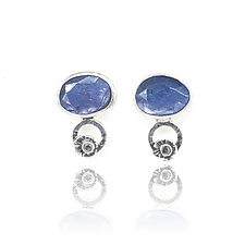 Tanzanite Blossom Stud Earrings by Vickie  Hallmark (Silver & Stone Earrings)
