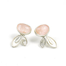 Blush Petal Drop Earrings by Vickie  Hallmark (Silver & Stone Earrings)