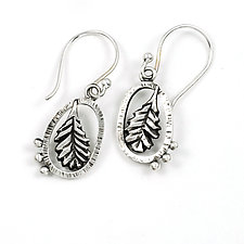 Laurel Leaf Earrings by Vickie  Hallmark (Silver Earrings)