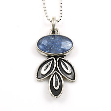 Tanzanite Leaf Drop Pendant by Vickie  Hallmark (Silver & Stone Necklace)