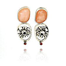 Peach Blossom Earrings by Vickie  Hallmark (Silver & Stone Earrings)