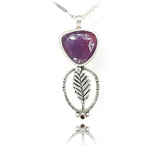 Purple Leaf Pendant by Vickie  Hallmark (Silver & Stone Necklace)