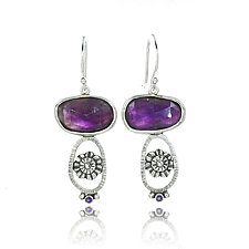 Amethyst Zinnia Earrings by Vickie  Hallmark (Silver & Stone Earrings)