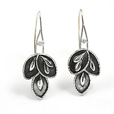 Leaflet Sparkle Hoops by Vickie  Hallmark (Silver Earrings)
