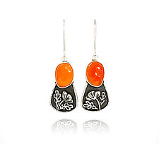 Carnelian Poppy Earrings by Vickie  Hallmark (Silver & Stone Earrings)