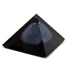 Pyramid in Black with Opaline Reticello by Marc Carmen (Art Glass Sculpture)