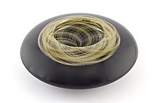Lens Bowl in Black With Gold Thread Reticello by Marc Carmen (Art Glass Bowl)