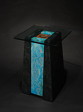 Lagoon Pedestal Table by David M Bowman and Reed C Bowman (Metal Side Table)