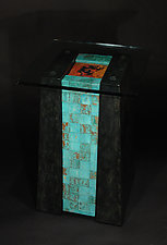 Mayan Pillar Pedestal Table by David M Bowman and Reed C Bowman (Metal Side Table)