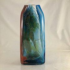 Tiny Aquos Rectangle by Randi Solin (Art Glass Sculpture)