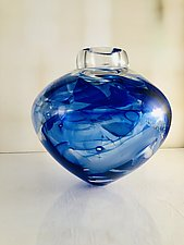 Extra Large Blue Camo Bowl by Randi Solin (Art Glass Vessel)