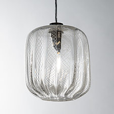 Latticino Pillow Pendant by Tracy Glover (Art Glass Pendant Lamp)