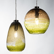 Olive and Celery Ombre Primavera Pendants by Tracy Glover (Art Glass Pendant Lamps)