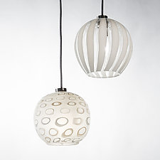 White Globe Pendants by Tracy Glover (Art Glass Pendant Lamps)
