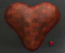 Brick Heart Wall Sculpture by Mark Levin (Wood Wall Sculpture)