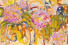 Birds and Hot Pink Flowers by Shannon Bueker (Acrylic Painting)