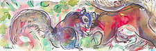 Red Squirrel and Blue Squirrel by Shannon Bueker (Watercolor Painting)