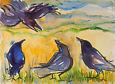Four Blue Crows by Shannon Bueker (Watercolor Painting)