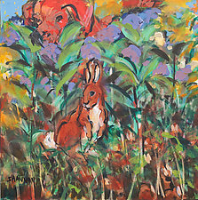 Hiding Rabbit and Red Dog by Shannon Bueker (Acrylic Painting)