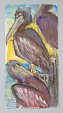 Three Brown Pelicans on Posts by Shannon Bueker (Watercolor Painting)