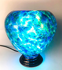 Seafoam Blue Glass Lamp by Curt Brock (Art Glass Table Lamp)