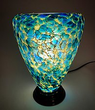 Blue and Yellow Glass Lamp II by Curt Brock (Art Glass Table Lamp)