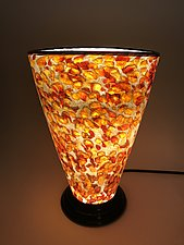 Gold and Red Glass Lamp by Curt Brock (Art Glass Table Lamp)
