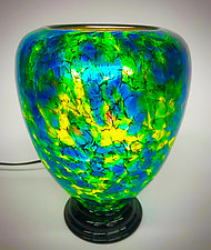 Blue, Green, and Yellow Lamp IV by Curt Brock (Art Glass Table Lamp)