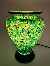 Green and Yellow Lamp with Brown Threads by Curt Brock (Art Glass Table Lamp)