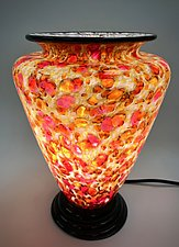 Gold, Yellow, and Rose Glass Table Lamp by Curt Brock (Art Glass Table Lamp)