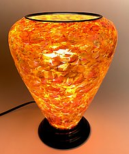 Orange, Red, and Yellow Glass Lamp by Curt Brock (Art Glass Table Lamp)