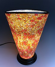 Yellow and Rose Glass Lamp by Curt Brock (Art Glass Table Lamp)