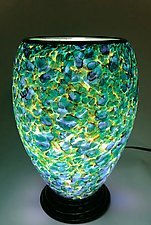 Green and Blue Lamp with Brown Threads by Curt Brock (Art Glass Table Lamp)