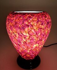 Rose and Lime Green Glass Lamp by Curt Brock (Art Glass Table Lamp)