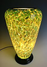 Greenish Blue and Yellow Glass Lamp by Curt Brock (Art Glass Table Lamp)