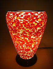 Orange and Red Glass Lamp by Curt Brock (Art Glass Table Lamp)