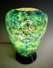 Blue, Green, and Yellow Glass Lamp by Curt Brock (Art Glass Table Lamp)