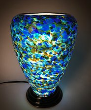 Blue, Green, and Mustard Yellow Lamp by Curt Brock (Art Glass Table Lamp)