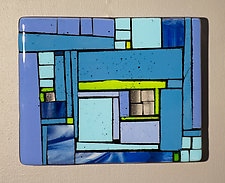 Neighborhood Blue by Vicky Kokolski and Meg Branzetti (Art Glass Wall Sculpture)