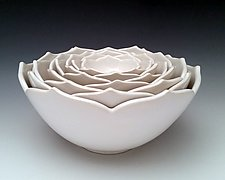Eight Nesting Lotus Bowls by Whitney Smith (Ceramic Bowl)