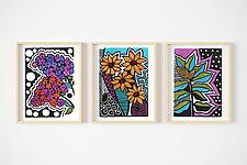 Pop Flower Trio by Lisa Kesler (Linocut Print)