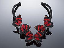 Crimson Callicore Butterflies Necklace by Carole Grisham (Beaded Necklace)