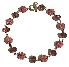 Pink Buds Necklace by Kathy King (Beaded Necklace)