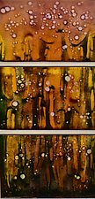 Early Fireflies Trio by Cynthia Miller (Art Glass Wall Sculpture)