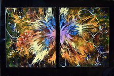 Happy Fourth! Duet by Cynthia Miller (Art Glass Wall Sculpture)