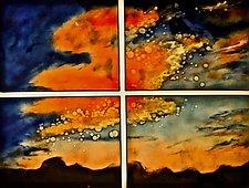 New Sunset Quartet by Cynthia Miller (Art Glass Wall Sculpture)