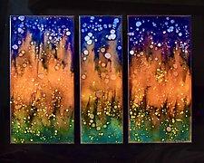 Darkness Falls Vertical Trio by Cynthia Miller (Art Glass Wall Sculpture)