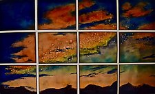 Stormy Sunset in 12 Panels by Cynthia Miller (Art Glass Wall Sculpture)