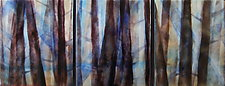 Mysterious Forest Trio by Cynthia Miller (Art Glass Wall Sculpture)